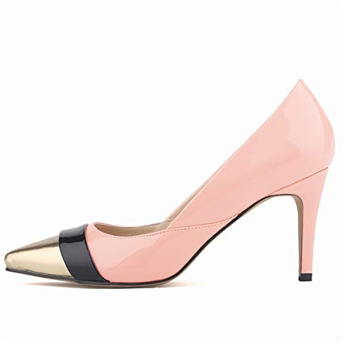 Top Shishang Frauen Spitze Zehe Ankle Tie Glitter High Heel Slip On Pumps Party Club Bar Hochzeit, Pink Gold, 42 -