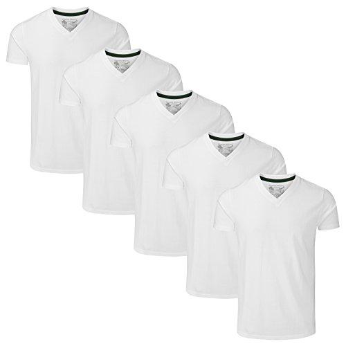 Charles Wilson 5er Packung Einfarbige T-Shirts mit V-Ausschnitt (3X-Large, Weiß) (T-shirt 3x Weiß)