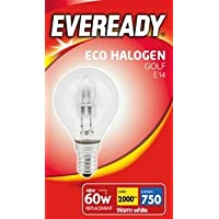Energizer 46w 60w Eco Halogen Candle Bulbs SES E14 Small Screw in Dimmable Warm White Pack of 12