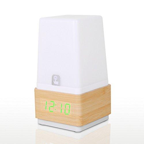 hense Grain en bois design vert lumière décorative bureau réveil 3 ensembles d'alarme Fonctionne par Alimentation Adaptateur Table de chevet lampe de bureau avec fonction compte à rebours et contrôle vocal HA13