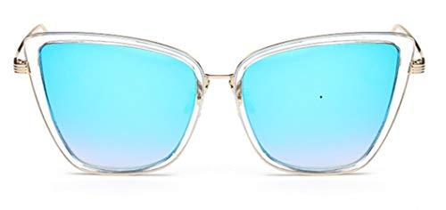 WXQDD-Sunglass Sonnenbrille Polarisiert Cat Eye Sonnenbrille DamenSommer Style Big Size Rahmen SpiegelSonnenbrille Damen, Blaue Linse