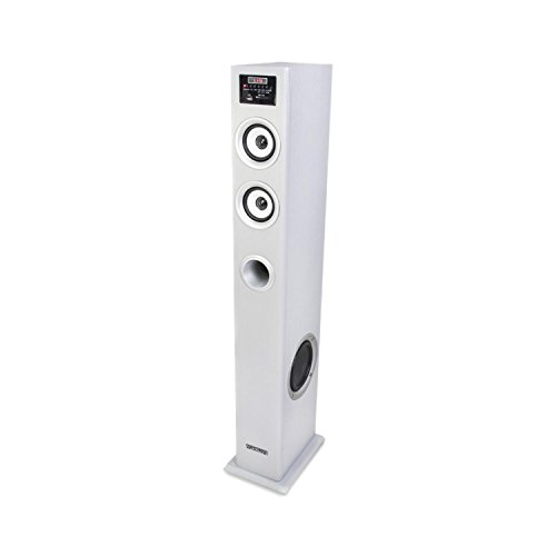 madison MAD-CENTER100BK Cassa Acusticha Multimediale Altoparlante a Torre (12 x 91,8 x 20 cm, 100 Watt, Porta USB SD MP3, Equalizzatore, AUX, Telecomando) Bianco