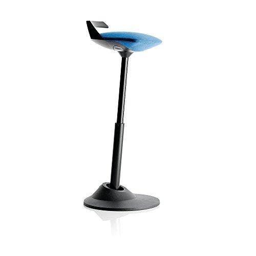 Tabouret Aeris muvman | Fauteuil de bureau ergonomique | Base noire – Options de hauteur et de couleur, Aluminium, bleu, Standard Height
