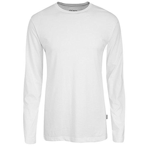 JOCKEY Herren Shirt / Unterhemd langarm - American T-Shirt / Unterhemds - 100% Baumwolle, Farbe Weiss, Grau, Marine Rot, Schwarz, Gr. S-6XL, Gr. M, Weiss Verkauf Jockey Unterwäsche