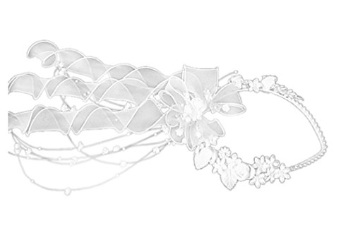 YES Haarkranz Kranz zur Kommunion Kommunionhaarkranz Perlen Bänder F3