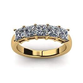 Anello Eternity con diamante taglio princess 1,00 carati, oro bianco e giallo massiccio 14 ct, misure N, M, K, L, O, P Q…