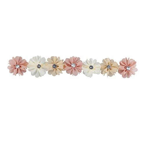 LUX Zubehör Elfenbeinfarben Pfirsich und Rosa Chiffon Blume Krone Headwrap Stirnband