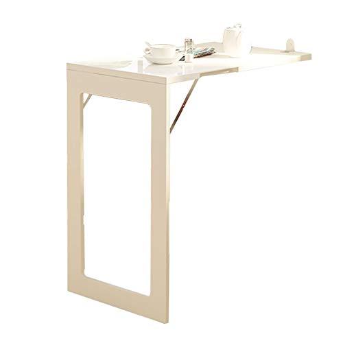 ERRU- Teleskopisch Wandmontierter Drop-Leaf-Tisch Faltbar, Kleine Wohnung Esstisch, Computertisch Stehtisch Unterstützung 150kg (Farbe : Weiß, größe : 74x45x75cm) -