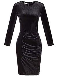 4e13464ca9 Fasumava Vestido Ceñido Al Cuerpo De Invierno Elegante Terciopelo Fruncido  hasta La Rodilla Vestidos Largos