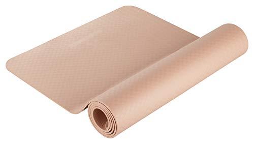 BODYMATE Yogamatte Premium TPE Rose-Gold - Größe 183x61cm - Dicke 6mm - Schadstoffgeprüft durch SGS frei von Phthalaten, BPA, Schwermetallen - Trainings-Matte für Fitness, Yoga, Pilates, Functional