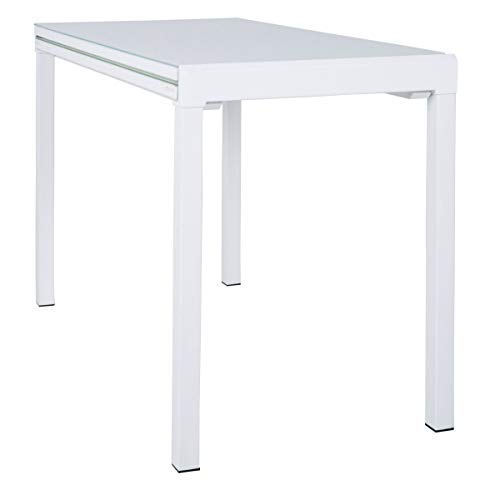 Dynamic24 Esstisch Lima 110x55/111cm Küchentisch Esszimmer Glas Tisch ausziehbar Weiss -