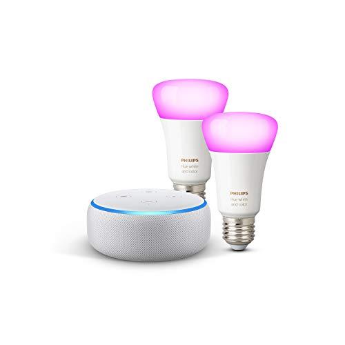 Echo Dot (3.ª generación + Philips Hue White & Color Ambiance Pack de 2 bombillas LED inteligentes