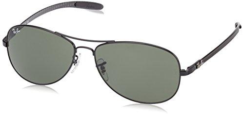 Ray-Ban RAYBAN Unisex Sonnenbrille Rb8301 002, Gestell: Schwarz, Gläser: Grün Klassisch, Large (Herstellergröße: 59)