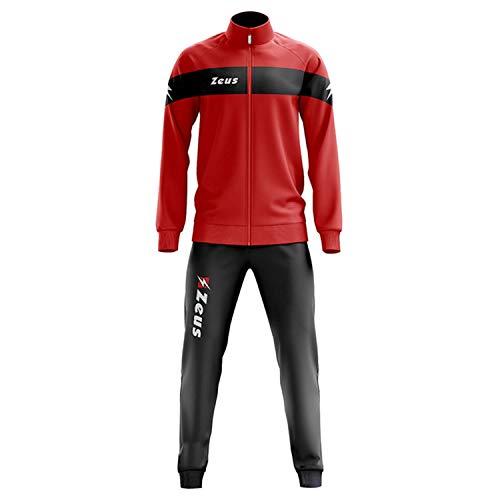 Zeus Herren Sportanzug Trainingsanzüge Running Laufen Training Sport Set Trikot Shirt Shorts Hosen TUTA APOLLO ROT SCHWARZ (M)