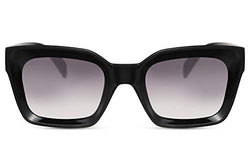 Cheapass Sonnenbrille Damen Schwarz Groß Breit 3D-Front Cat-Eye Recht-Eckig Designer-Brille Plastik Frauen