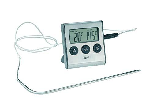 GEFU 21840 Digitales Bratenthermometer Tempere mit Timer zum Garen und Braten für den Backofen mit Befestigungsmagnet -