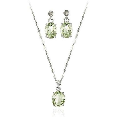 TCW 7.80 ovale in argento Sterling, con ametista verde e diamanti-Set di orecchini e ciondolo - Genuine Diamante Bridal Set