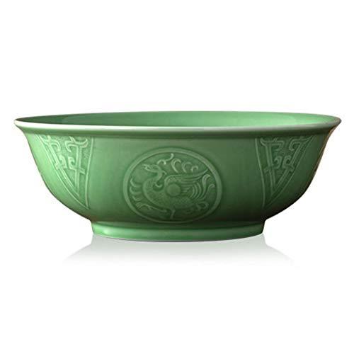 Suppenschüssel große Seladon Suppentopf eingelegte Fischsuppe Schüssel Hotelgeschirr Home Keramikschale Flusskrebs Gericht Suppenschale (Color : Green, Size : 10 inches) - Zoll 10 Glas Mikrowelle