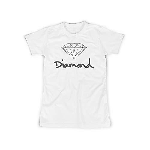 licaso Frauen T-Shirt mit Diamond Jewel Aufdruck in White Gr. XXL Design Top Shirt Frauen Basic 100% Baumwolle Kurzarm -