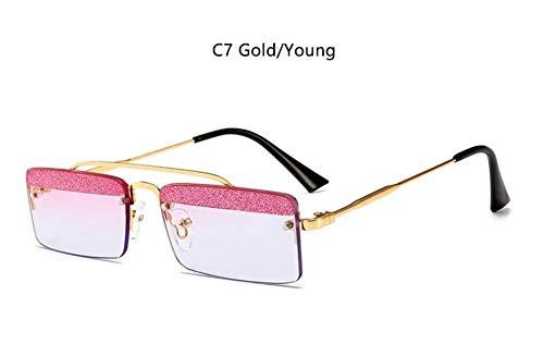 KONGYUER Sonnenbrillen, Brillen,Gold Junge Glitter Rechteck Sonnenbrille Kleinen Rahmen Frauen Luxury Vintage Sonnenbrille Retro Schmale Brille Männer Brillen Uv400