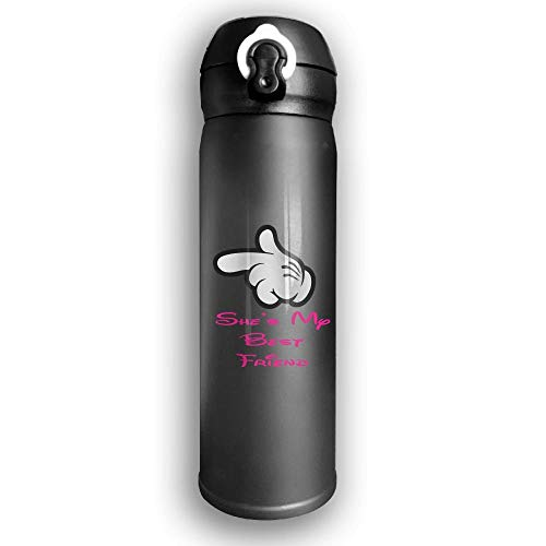 GDESFR Thermoskanne Stainless Water Bottle Custom She is My Best Friend,Sports Drinking Bottle,Leak-Proof Vaccum Cup,Travel Mug,with Bounce Cover,Black -
