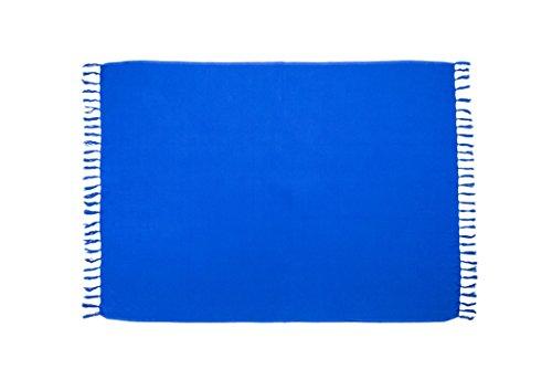 MANUMAR Damen Pareo blickdicht, Sarong Strandtuch in blau mit Schnalle, einfarbig, Sommer Handtuch 225x115cm XXL Übergröße, Hippie Sommer Kleid Sauna Hamam Lunghi Bikini Coverup Strandkleid