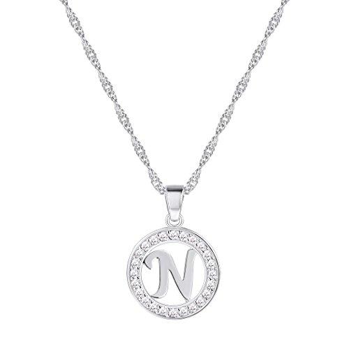 Suplight Collier mit Anhänger Buchstaben N Halskette platiniert Hohl Runde Kettenanhänger Alphabet Anfangsbuchstabe Modeschmuck für Damen Frauen Mädchen