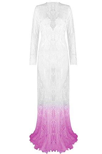 Jungs 50er Kostüme Jahre (YMING Damen Spitzenkleid Tief V Ausschnit Reizvolle Lingerie Transparent Unterwäsche Strandkleid Maxi)