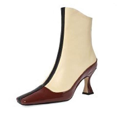Damen Leder Booties,Stitching Farbe Stiletto Ankle Boots Weiblichen High Heel Herbst Quadratischen Kopf Schaffell Weichen Fläche Stiefel @ 38 -