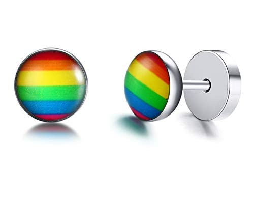 Qirui LGBT Jewelry Stainless Steel Rainbow Stud Earrings for Gay & Lesbian