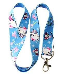 Blue Hello kitty Lanyard Key Chain Holder with Pink Ribbon and Wand by Hello Kitty
