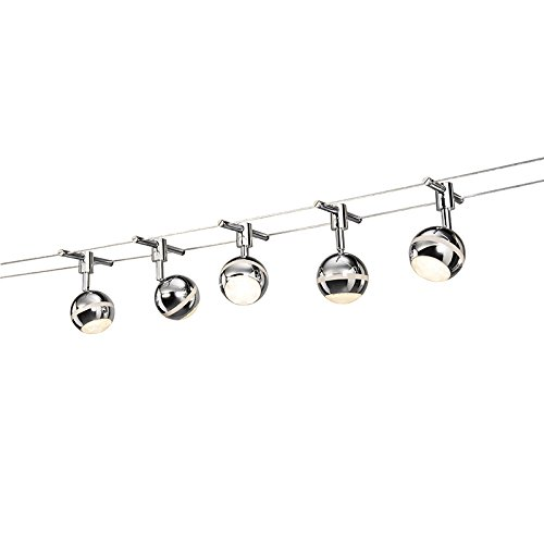 QAZQA Modern Seilsystem Tubos 5-flammig LED rund Chrom / Innenbeleuchtung / Wohnzimmer / Schlafzimmer / Küche Kunststoff / Metall / Länglich inklusive LED (nicht austauschbare) LED Max. 5 x 3.8 Watt