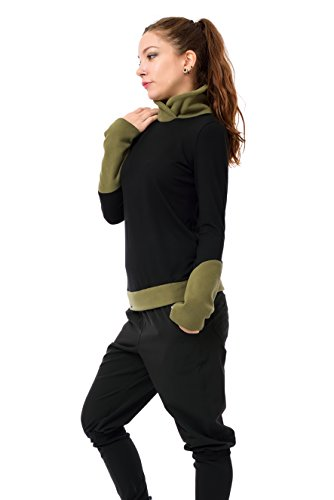 Sweatshirt Pull polaire d'hiver de 3Elfen noir - made in berlin - Sweat Shirt - Manches Longues - Femme Vert
