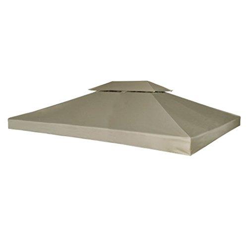 vidaXL Toile Imperméable de Rechange pour Tonnelle 4x3 m Beige Bâche de Tente