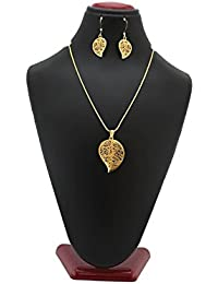 TRENDEST Fashion (Perfect Valentine Day Gift) Gold Plated Pendant Set With Chain And Earrings For Women & Girls...