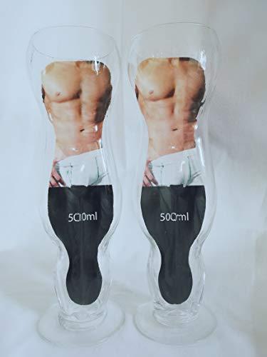 Körper-geschenk-set (schwuppdiwupp.shop Sexy Bierglas/Trinkglas Männertorso, Körper Mann, 2er Set, Geschenk, JGA)