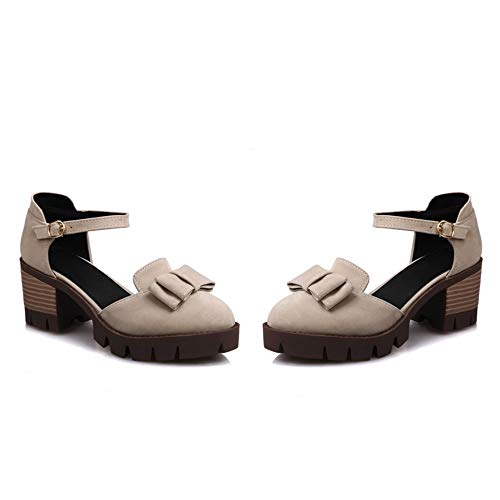 MENGLTX High Heels Sandalen Heiße Neue Sommer Frühling Platz Ferse Plateauschuhe Mit Schmetterling Knoten Runde Kappe High Heels Frauen Pumpt 8 Beige