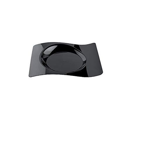 Assiette vague plastique 22x18 cm noir x12-12 pièces