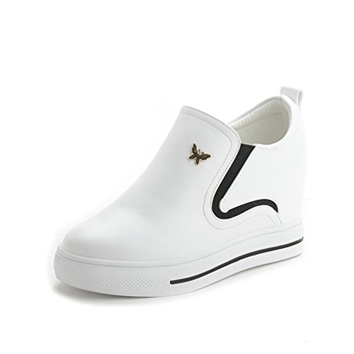 Damen Slip-on Wedge Sneakers Slipper Turnschuhe Bequem Weiß