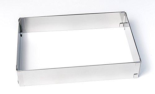 BACKRAHMEN Vario rechteckig von 4smile – Made in Germany ǀ Patisserie KUCHEN-RAHMEN verstellbar ǀ zum Backen und Dekorieren von Kuchen und Torten 5cm hoch ǀ aus Edelstahl 100 % rostfrei ǀ spülmaschinenfest