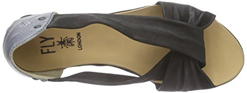 FLY London FAYA621FLY, Spartiates femme Noir (Cupido Quarteira Black Silver)