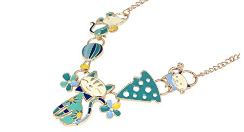XZZZBXL Damenhalskette Cat Happy Maus Käse Halskette Anhänger Märchen Tier Schmuck Für Frauen Mädchen Teens Zubehör Geschenk Grün
