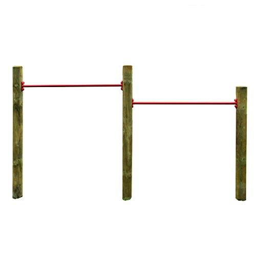 Gartenpirat Doppelreck DRR Turnreck aus Rundholz mit zwei Reckstangen rot