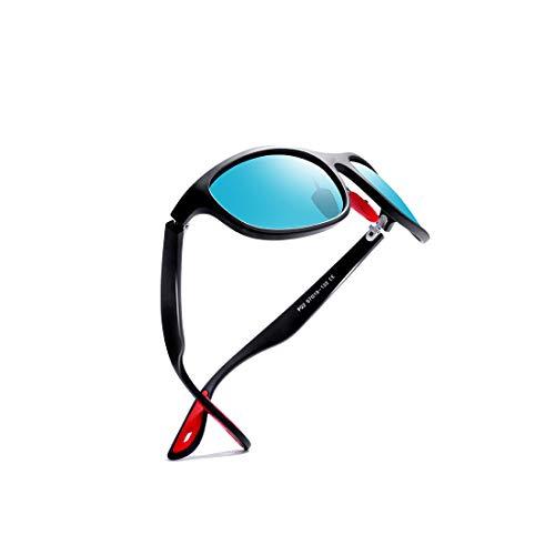kimorn polarisiert Sonnenbrille für Männer Sportbrillen Ovaler Rahmen Roter GummiBrille K0624 (Matt-schwarz&Blau)