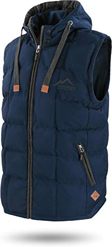 normani Outdoor Sports Wattierte Steppweste Bodywarmer - 100{92c5c4ae4cb140790f061d036bcdfc76cd0d001ee935fe28c7db920d3ccb6919} Winddichte Outdoor Weste mit Lederpatch, Kapuze und Stehkragen Farbe Marine Größe L/52