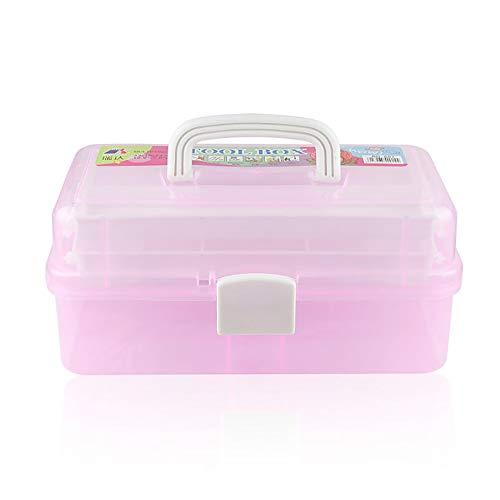 Anjing Craft Caddy Box Kunststoff Freischwinger Box 3 Fächer Kunst und Bastelbox für Bleistifte Farben Pastellfarben Bastelzubehör Rose