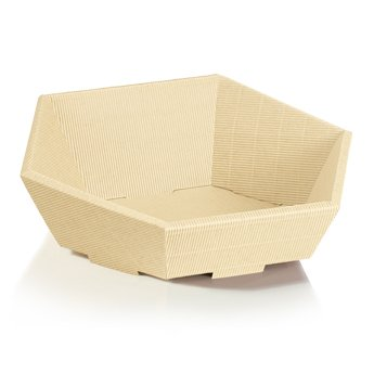 10 x Präsentkorb Swing- creme, Osterkorb, Geschenkkorb, Wellpappkorb 6-eckig – Größe: klein