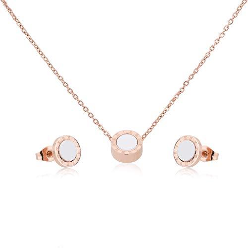 Schmuckset Damen rosegold, Kette Kreis und Ohrstecker, Halskette mit Anhänger, rose gold & weiß Edelstahl mit Geschenkbox