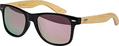 Hochwertige Bambus Holz Nerd Sonnenbrille Retro Vintage Unisex Brille mit Federscharnier - 9 verschiedene Farben/Modelle wählbar (Bambus - Rosa verspiegelt)