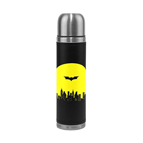 he Edelstahl, doppelwandige Vakuum Isolierte Thermos Cup auslaufsicher Reisen Tee Kaffee Becher Echt Leder Hülle hält Getränke Heiß und Kalt 17Oz £ ¨ Batman £ © ()